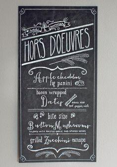 wedding hors d'oeuvres menu by http://designbylj.wordpress.com/
