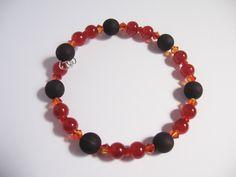 Red Orange Black Bracelet; Memory Wire Bracelet, Swarovski Crystal Jewelry by LaurieCrosbyDesigns on Etsy