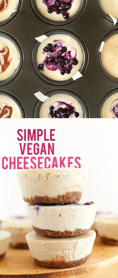 SUPER Creamy 7 Ingredient Vegan Cheesecakes! You pick the flavor and dive in. So delicious you'd never guess they were dairy free! My NEW favorite dessert.   minimalistbaker.com