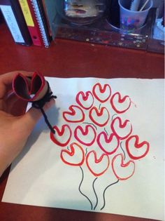 Toilet paper roll heart craft