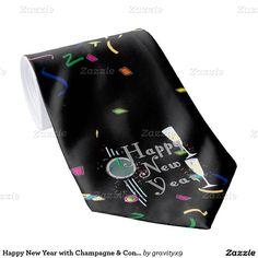 Happy New Year with Champagne and Confetti Tie  #NewYearsCelebration #Zazzle #Gravityx9 #NewYearsTie
