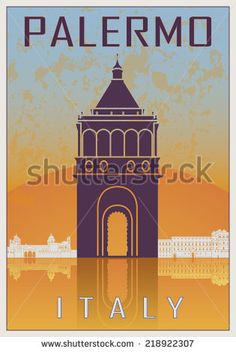 Palermo Vintage poster in orange and blue textured background with skyilne in white - stock vector