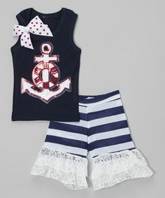 Take a look at this Navy & Red Anchor Tank & Ruffle Shorts - Infant, Toddler & Girls on zulily today!
