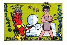 'The printer and the printer's helper'. From private collection of CB radio QSL cards of the 60s, 70s and 80s. QSL cards were personalized postcards that were used as a record of contact between CB radio operators.