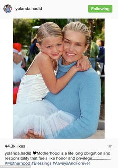 With her little mini me: Yolanda Foster shared an image with her daughter Gigi Hadid taken over a decade ago; the picture was posted to Instagram on Friday