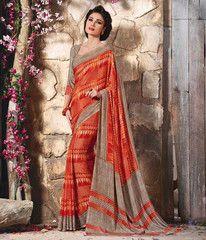 Orange Color Crepe Casual Function Sarees : Karnika Collection  YF-40736