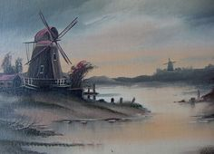 Traditional Dutch scene with windmills, signed by Wilkie