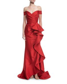 Off-the-Shoulder Ruffled Gown by Badgley Mischka Collection at Neiman Marcus Beautiful Prom Dresses, Nice Dresses, Moda Peru, Drape Gowns, Gown Pattern, Festa Party, Elegantes Outfit, Red Gowns, Cocktail Gowns