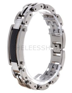 (SBR010-SILVER) Mens Stainless Steel Resistant Railroad Acrylic Patch Clasp Bracelet