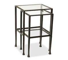 Tanner Nesting Side Tables #potterybarn TANNER METAL & GLASS NESTING TABLES, SET OF 2, MATTE IRON-BRONZE FINISH reg. price $239  special $191 Delivery Surcharge: $20  now $0