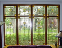 Frank Lloyd Wright style in stained glass