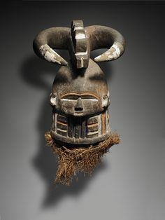 Helmet Mask With Horns Geography: Made in Sierra Leone Culture: Southern Bullom