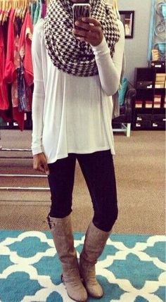 Loose, long top, leggings and boots. Top it with a bulky scarf for s casual look.