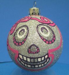 skull // hanging art // hand painted ornament // christmas tree