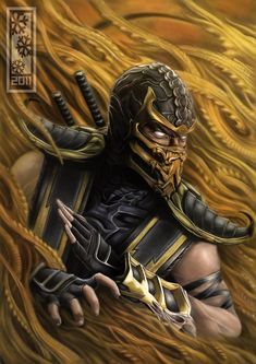 Mortal Kombat 9 best game ever gold outfit hero song music scorpion ninja master sword. Scorpion is my favorite character in the world of mortal kombat Scorpion Mortal Kombat, Mortal Kombat 9, Video Game Art, Video Games, Mileena, Video X, Fighting Games, The Villain, Game Character