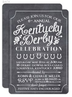 Chalkboard Kentucky Derby Party Invitation