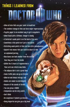 "Show everybody how smart you've become by binge-watching Doctor Who with this great ""Things I Learned From"" poster! Fully licensed. Ships fast. 24x36 inches. Take some Time to check out the rest of ou"