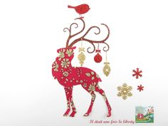 Appliqués thermocollants Renne de Noël en tissu liberty Capel rouge et flex pailleté patch à repasser motif Christmas thermocollant liberty