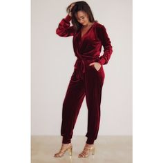 Cheeky's Molly Jumpsuit in Burgundy Velvet (2,260 MXN) ❤ liked on Polyvore featuring jumpsuits, red, jumpsuits & rompers, jump suit, purple jumpsuit, red jumpsuit and red jump suit