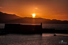 Koules castle at Heraklion port in Crete, sunset time.