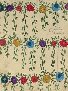 Raoul Dufy, Design no. 51156 bis, worked with bands of brightly coloured trailing roses, in pencil and gouache on paper - 33 x 25cm.