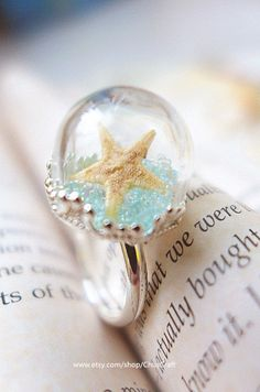 Real Starfish Ring Starfish Jewelry Statement Ring by ChusCraft