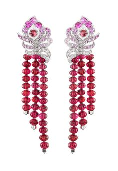 Van Cleef  Arpels 'Birds of Paradise' Arpels Oiseaux Flamboyant earrings with red spinels, pink sapphires and diamonds