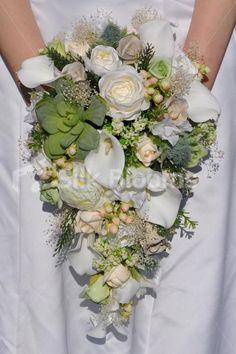 Gorgeous Rustic Green Succulent and White Calla Lilies Cascade Teardrop Bouquet