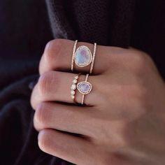 14kt gold mini moonstone and diamond ring...so pretty