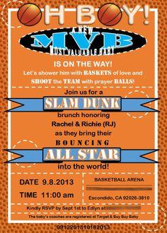 Bouncin basketball baby shower invitation boy court pinterest baby shower invitation basketball theme photo invitation filmwisefo