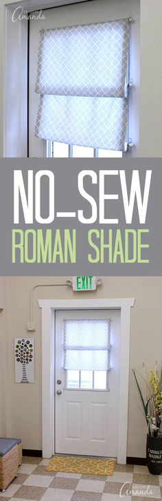 How to make a no sew Roman shade for your window or door. This one is in Amanda Formaro's craft studio (Crafts by Amanda).