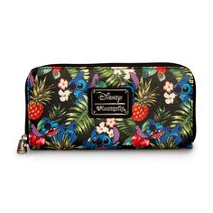 Loungefly X Disney Stitch Hawaiian Pebble Zip Wallet-Don't forget to bring the Disney Stitch Hawaiian Pebble Zip Wallet from Loungefly to all your beach vacation. This tropical wallet features a full on Disney graphics of Stitch with hibiscus flowers Cute Stitch, Lilo And Stitch, Disney Stitch, Baymax, Disney Purse, Disney Brands, Cute Wallets, Cute Bags, Disney Outfits