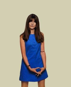 """isabelcostasixties:  """"Cathy McGowan wears a sleeveless blue mini dress designed by her in 1967 (Cathy McGowan Boutique)  """" Cathy Mcgowan, Vintage Outfits, Vintage Fashion, Vintage Clothing, 1960s Dresses, Girls Slip, Retro Baby, Sixties Fashion, Famous Girls"""