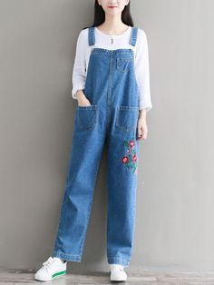 Cheap romper jeans, Buy Quality women rompers directly from China overall jumpsuit Suppliers: THHONE Jumpsuit Women Romper Jeans Denim Pants Strap Trousers Casual Bodysuit Denim Overalls Long Catsuit Embroidery Jeans Jumper Outfit, Dungarees Outfits, Denim Jumpsuit, Casual Jumpsuit, Denim Overalls, Denim Pants, Plus Size White Jumpsuit, Pants For Women, Clothes For Women