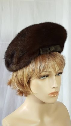 Antique Vintage 20s Mink Fur Striped Reddish Brown Black Satin Bow Cloche Hat Clothing, Shoes & Accessories