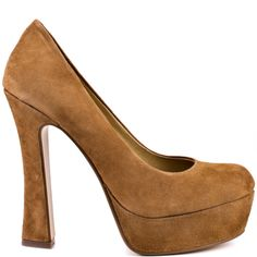 You'll be mesmerized by this Chinese Laundry pump.  A beautiful dark camel suede covers the Moving On style and features a 1 inch platform and 4 1/2 inch flared heel. This classic silhouette can be worn to any party or everyday wear.