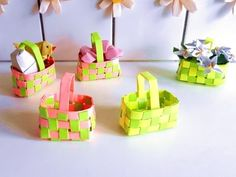Paper woven gift basket (Sticky Note version) - YouTube