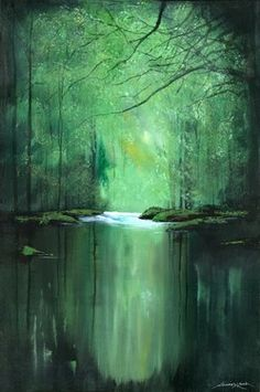 "Saatchi Online Artist Andrew Keola; Painting, ""Tranquil River"" Reminds me of Sleeping Beauty."