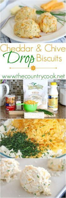 Cheddar & Chive Drop Biscuits recipe from The Country Cook. I love drop biscuit recipes. They are so simple but have all that homemade biscuit flavor!