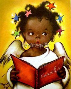 Christmas card by artist Charlot Byj -- Black Women Art!, New York: Ars Sacra/ Herbert Dubler, Inc. Black Christmas, Christmas Images, Christmas Angels, Christmas Art, African Christmas, Vintage Greeting Cards, Vintage Christmas Cards, African American Art, African Art