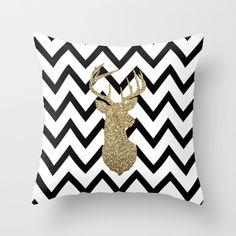Glitter Deer Silhouette with Chevron Throw Pillow