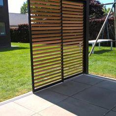 Schuifpanelen   Demaeght Modern Pergola, Deck With Pergola, Modern Patio, Pergola Patio, Backyard, Outdoor Patio Designs, Outdoor Seating, Front Yard Garden Design, Rooftop Terrace Design