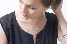 Placcato in oro di gioielli - orecchini ramo - ramo borchie orecchio