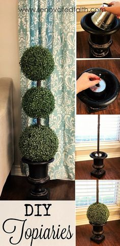 DIY Boxwood Topiaries - One of my favorite ways to decorate for Spring is with boxwood balls and topiaries. The bright green gives such a crisp contrast against spring flowers. Boxwood is perfect to use throughout the year as they complement every season's décor. www.renovatedfaith.com