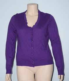 Kenneth Cole Reaction NWT XL Grape Purple Ruffle Button Front Knit Cardigan Top #KennethCole #Cardigan