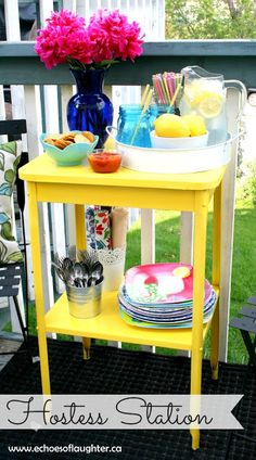 A Beautiful Hostess Station-spray a flea market find to a make a beautiful hostess station for holding drinks, dishes, and snacks!