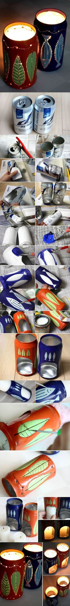 DIY Flickering Candle Holders from Beer Cans 2