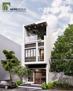 KIẾN TRÚC NHÀ PHỐ 3 TẦNG 5X16M, PHONG CÁCH HIỆN ĐẠI 3 Storey House Design, Duplex House Design, Dream Home Design, Modern Minimalist House, Narrow House, Street House, Urban Architecture, House Elevation, Building Design