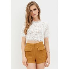 Forever 21 Women's  Textured High-Waisted Shorts ($23) ❤ liked on Polyvore featuring shorts, high rise shorts, highwaisted shorts, highwaist shorts, forever 21 and high waisted shorts