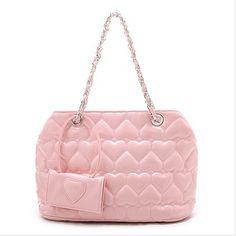 girlish pink one-shoulder handbag